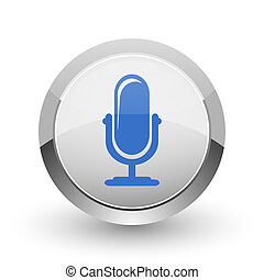 Microphone chrome border web and smartphone apps design...