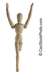 Wooden mannequin running - The wooden mannequin running with...