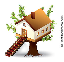 House on tree with ladder. Vector illustration