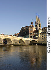 old town regensburg in germany - famous old town regensburg...