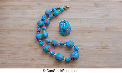 Original beads from polymeric hand-worked clay - Expertly...