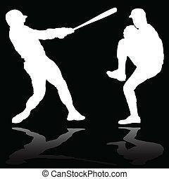 baseball player white vector