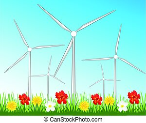 Wind generators on glade - Year glade with flower and wind...