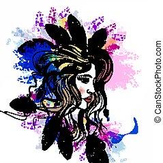 Fashion portrait of bbeautiful girl with boho feathers on...