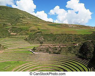 Peru, Moray, ancient Inca circular terraces Probable there is the Incas laboratory of agriculture