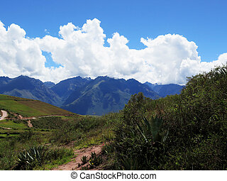 Agricultural field in Sacred Valley, Cusco Region, Peru