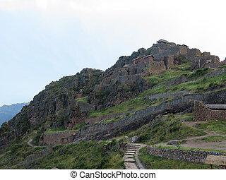 Peru, Pisac (Pisaq) - Inca ruins in the sacred valley in the...