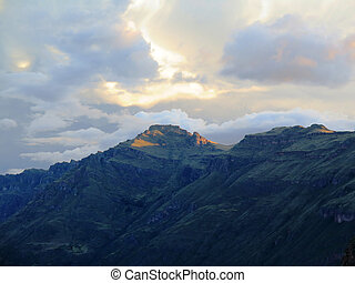 Peru, Pisac (Pisaq) Sunset - Inca ruins in the sacred valley...
