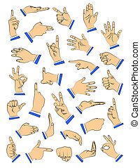 Vector illustrated hand set in different gestures, signs.