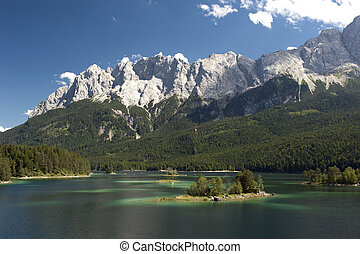lake eibsee in germany - lake eibsee near town garmisch at...