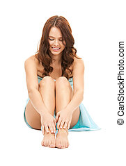 lovely woman in towel - bright picture of lovely woman in...