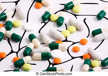 Healthy Brain Pills on white background