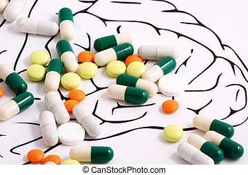 Healthy Brain Pills on white background