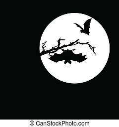 bat on the moon vector silhouettes