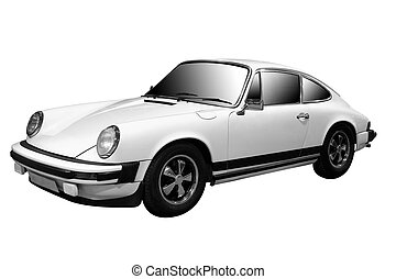 Classic Sports Car - White Classic Sports Car Isolated
