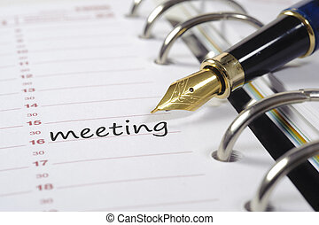 business calendar with meeting date