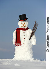 snowman as gentleman with hat and shawl