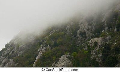 Fog in the rocky mountains of Montenegro.