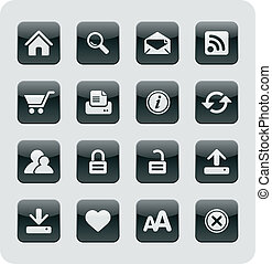 Glossy Internet Web Icons | Black series