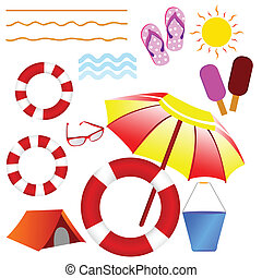 beach stuff vector illustration