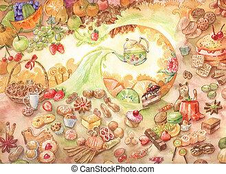 Pasteles, Clases, Ilustración, Muchos, dulces, dulce, acuarela, té, garabato