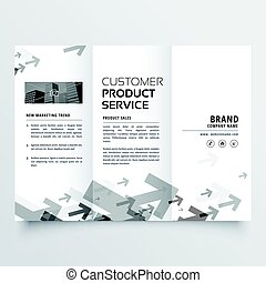 trifold brochure design with arrow shapes