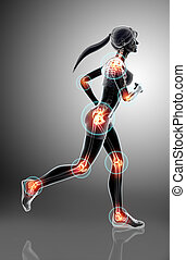 3d illustration - woman runing pose.