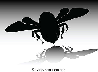 bee black vector illustration
