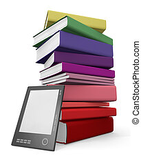 Digital and paper library - Ebook reader leaning against a...