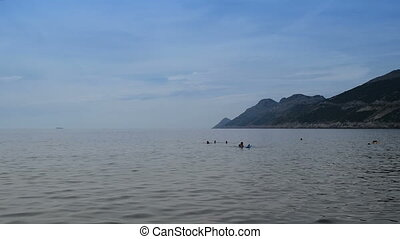 swimmers in calm water