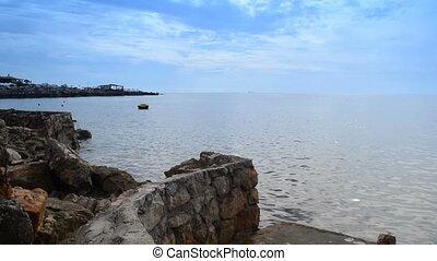calm sea near the fortified beach