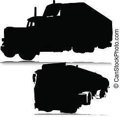 big truck vector silhouettes