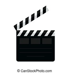 Clapperboard vector illustration isolated background, flat...