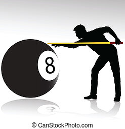 billiard player vector silhouettes
