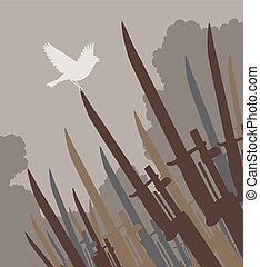 Bayonet bird - Editable vector silhouette of a singing bird...