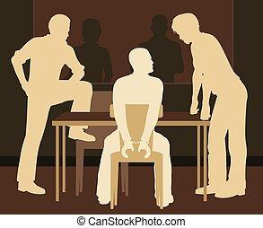Interrogating suspect - Editable vector illustration of a...