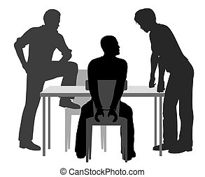 Interrogation - Editable vector silhouettes of a handcuffed...