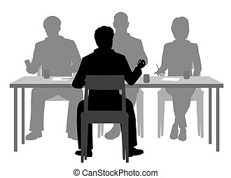 Interview panel - Editable vector silhouettes of a man being...