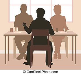 Interview - Editable vector silhouettes of a man being...