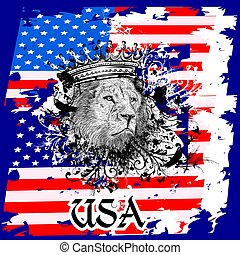 American design illustration for T-shirt prints with USA...