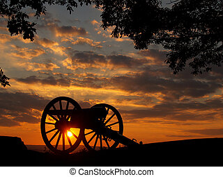 Sunset on Little Round Top - Cannon in the sunset on Little...