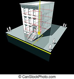 Townhouse with gas micro heat and power generator diagram