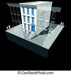 Townhouse with new windows and doors - Diagram of a typical...