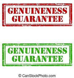 Genuineness Guarantee - Set of grunge rubber stamps with...