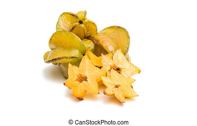 carambola fruit isolated on white background