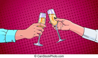 Couple Hands Clinking Glass Of Champagne Wine Toasting Pop Art Retro Pin Up Background