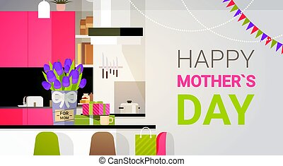 Happy Mother Day, Family Kitchen Interior, Spring Holiday Greeting Card Banner