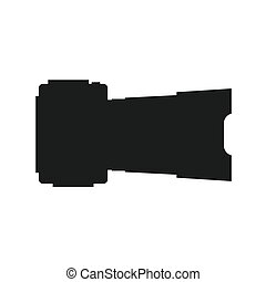Photo camera silhouette side view. Icon Vector Illustration....