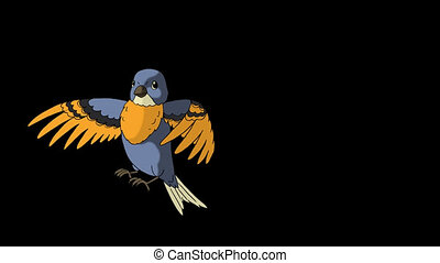 Blue Bird Came Flying. Animated Motion Graphic with Alpha...