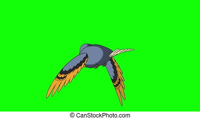 Blue Bird Flies. Back View. Animated Looped Motion Graphic...